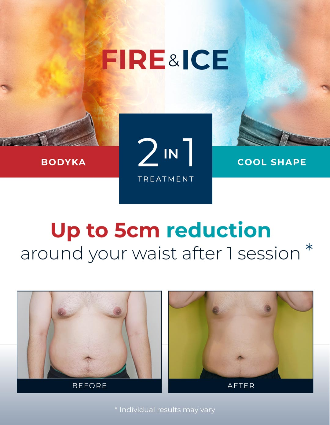 Up to 5cm Belly Fat Reduction around your waist after 1 session*